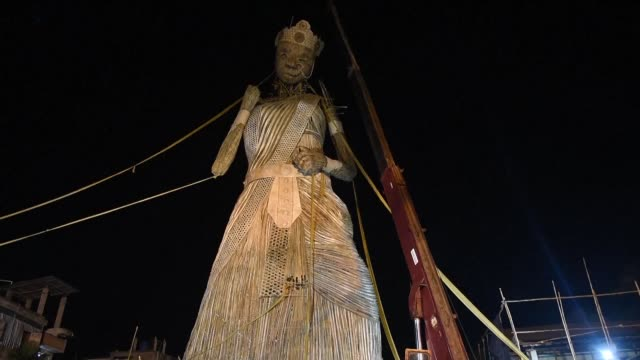 A 100 foot tall idol of Hindu Goddess Durga in India is set to enter the Guinness Book of Records as the tallest bamboo sculpture ever made in the...