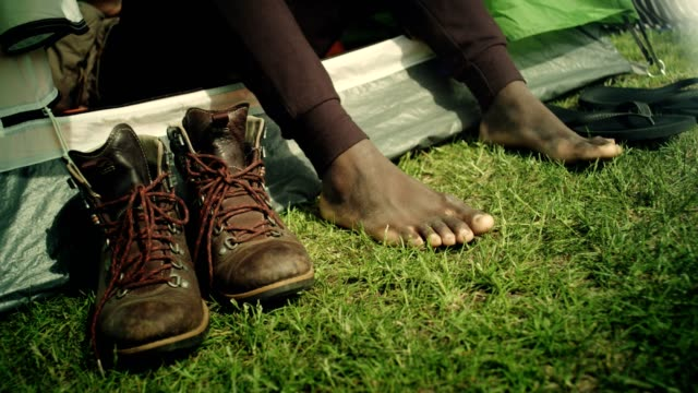 foot without shoes relax after trekking - barefoot stock videos & royalty-free footage