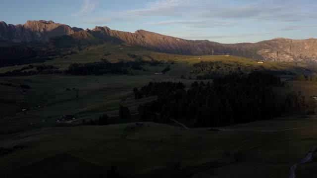 Footage aerial view of Alpi de siusi, Dolomite, Italy