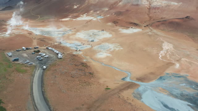 "4k footage aerial view of hverir ""an expanse of hot springs"" called hveraröndor hverir at myvatn area in north of iceland - natürliches muster stock-videos und b-roll-filmmaterial"