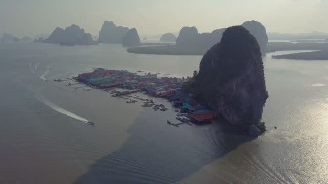 footage aerial view of punyi island or koh panyee, thailand - phang nga bay stock videos and b-roll footage