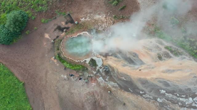 4K Footage Aerial view of Strokkur geyser erupting, Geysir, Iceland