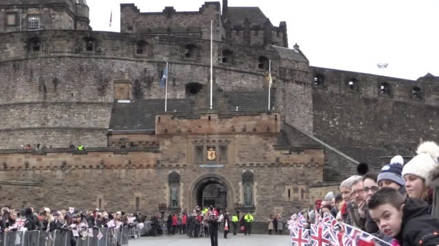 footage as prince harry's fiancee meghan markle arrives to greet crowds at edinburgh castle. - visit stock videos & royalty-free footage