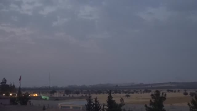 Footage dated on August 24 2016 in Turkey's Gaziantep province near Syrian border shows that Turkish military tanks howitzers and figther jets early...