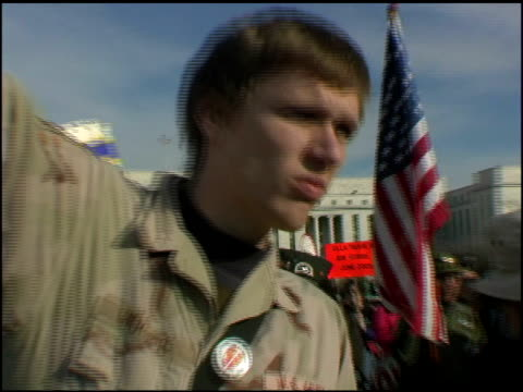 footage form the antiwar rally in washington dc iraq veterans against the war - 2003年点の映像素材/bロール