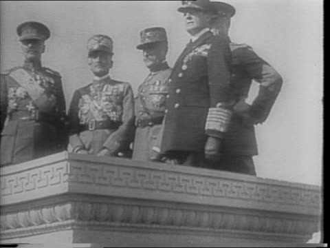 footage from 1921 american legion convention men walking up stairs in uniform general john j pershing marshal ferdinand foch / shot of stage with men... - john pershing stock videos & royalty-free footage