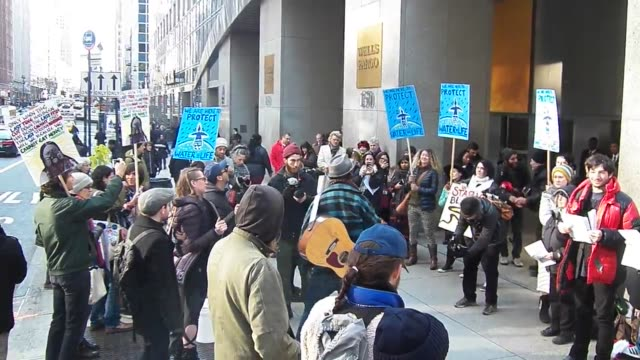 footage from an occupy wall street nodapl wells fargo action/protestnew york city - wells fargo stock videos and b-roll footage