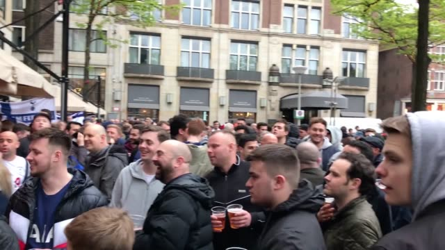 Footage from around Amsterdam's old town where Tottenham fans await their Champions League semifinal second leg v Ajax