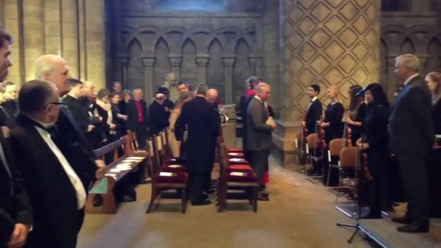stockvideo's en b-roll-footage met footage from durham cathedral of prince charles attending a concert and minute's silence for student olivia burt who died last week in a queue for a... - durham engeland