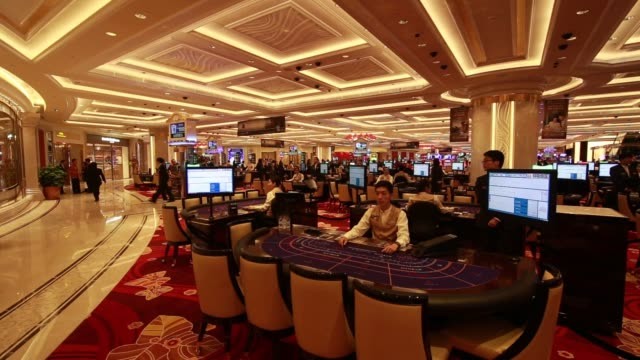 footage from inside the broadway macau casino, developed by galaxy entertainment group ltd., in macau, china, on tuesday, may 26, 2015. shots:... - macao stock videos & royalty-free footage