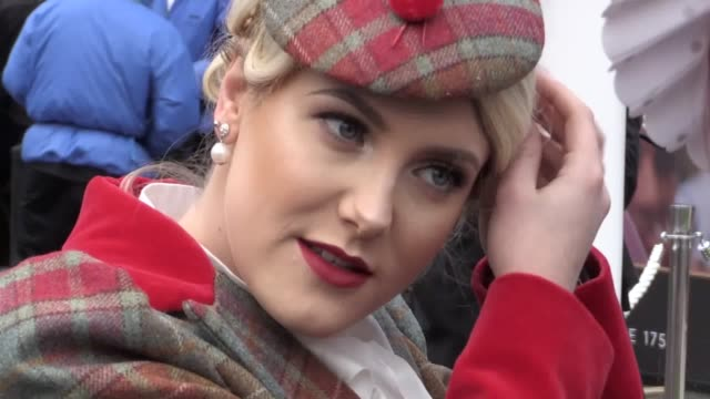 vídeos de stock, filmes e b-roll de footage from ladies day at aintree including voxes with ladies asking how much planning they put in to their outfits and what makes the day so... - artigo de vestuário para cabeça