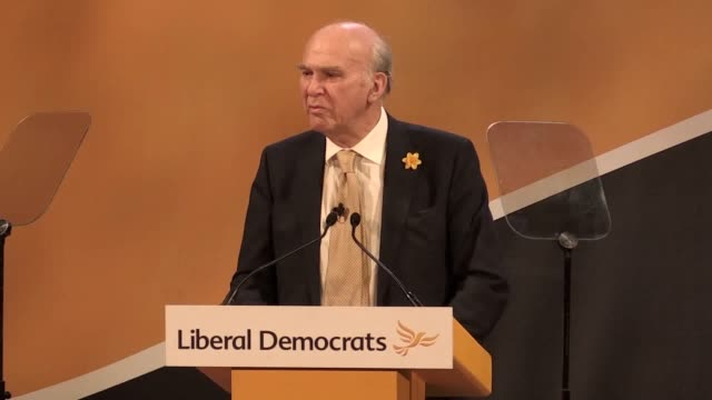 stockvideo's en b-roll-footage met footage from liberal democrat leader sir vince cable's speech to the party's spring conference in southport lancashire he says normal politics has... - southport engeland