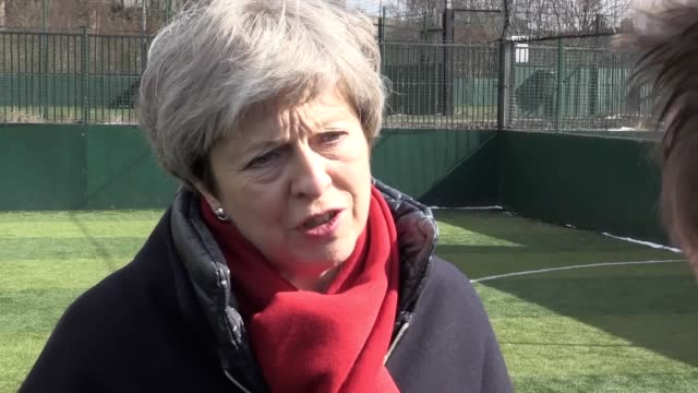 footage from prime minister theresa may's visit to a youth employment charity the street league in birmingham followed by a pooled interview where... - theresa may stock videos & royalty-free footage