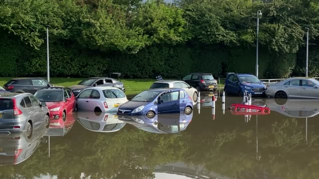 footage from queen victoria hospital's car park in kirkcaldy fife which has been flooded after heavy rainfall overnight the met office has issued a... - damaged stock videos & royalty-free footage