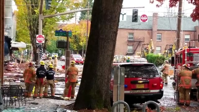 footage from the aftermath of an explosion at a portland bagel shop that exploded 8 people were injured in the explosion 3 firefighters 2 cops and 3... - bagel stock videos & royalty-free footage
