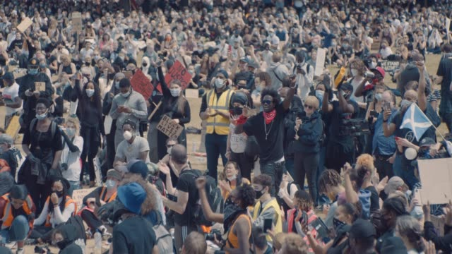 footage from the black lives matter protest in bristol, england on june 7th 2020, sparked by the death of george floyd and the continued oppression... - slow stock videos & royalty-free footage
