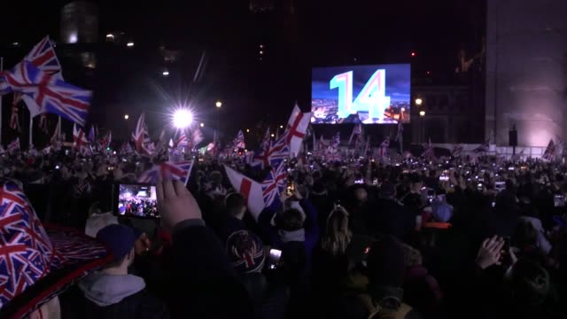 footage from the brexit celebrations on parliament square in london as revellers countdown to the uk's exit from the european union. - countdown stock videos & royalty-free footage