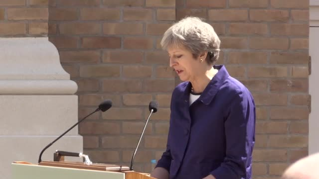 vídeos de stock, filmes e b-roll de footage from the official hand over of the new defence and national rehabilitation centre attended by the duke of cambridge and prime minister... - theresa may