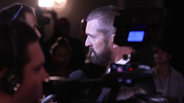 stockvideo's en b-roll-footage met footage from the premiere of the happy prince in london shots include rupert everett colin morgan edwin thomas tom colley celia imrie ruby wax and... - rupert everett