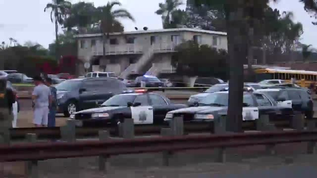 Footage from the scene of an officer involved shooting in Encinitas The man was shot five times while trying to run from police
