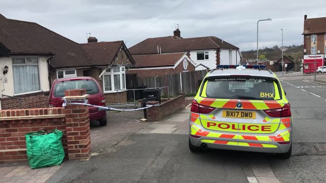 footage from the scene where a man has been arrested on suspicion of murder after an 80-year-old woman died in a bathtub at an address in ilford,... - ilford stock videos & royalty-free footage