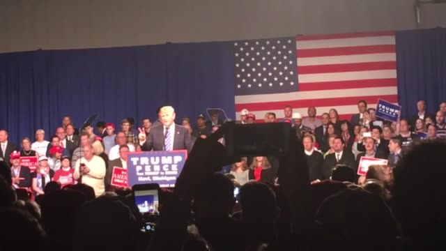 footage from the trump rally in novi, mi: trump, the arena, interviews with trump supporters and other random shots - other stock videos & royalty-free footage