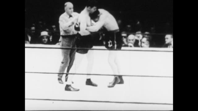 footage from the world heavyweight championship bout fought by max baer vs james braddock in new york on 13th june 1935 - world championship stock videos & royalty-free footage
