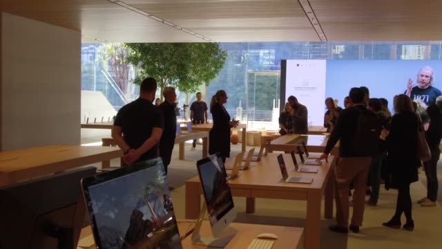 Footage inside the new Apple store of apple products on display during the preview event in Chicago IL on October 19 2017 Photographer Dan Acker...
