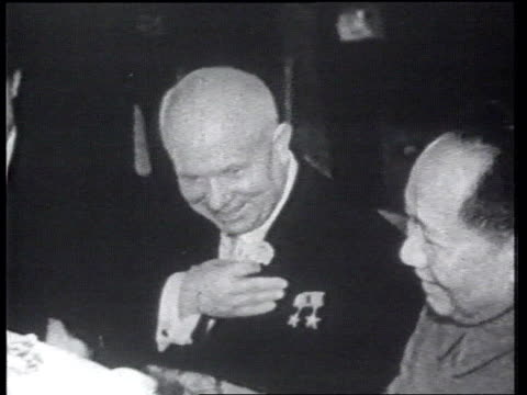 B/W Footage Nikita Kruschev with Mao Tse Tung at ceremony