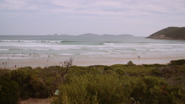 4K footage of a beach with people learning surf, in Wilson Promontory, Victoria, Australia