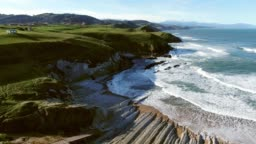 4K footage of a coastal landscape in Cantabria, Spain