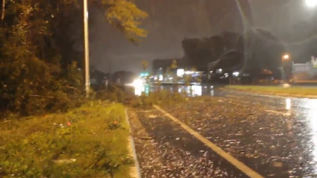 footage of a fence blown down and trees and debris on the road because of the storm winds. - jacksonville florida video stock e b–roll