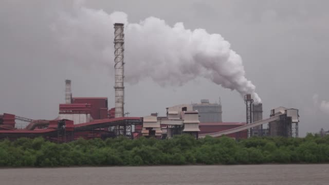 footage of a jsw steel ltd manufacturing facility in dolvi maharashtra india on tuesday july 28 2015 shots wide shot of smokestack and facility wide... - metal blend stock videos and b-roll footage