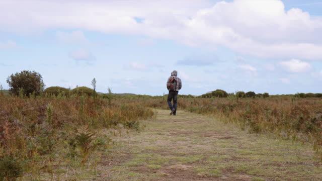 vídeos y material grabado en eventos de stock de 4k footage of a man walking in a landscape in wilson promontory - espalda humana
