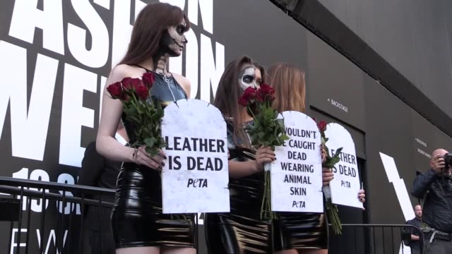 vídeos de stock, filmes e b-roll de footage of a trio of models wearing skintight vegan leather dresses and skeletonlike face paint protesting on the opening day of london fashion week... - vegan