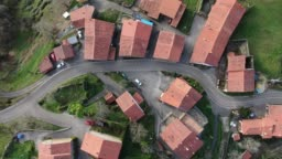 4K footage of a village as seen from directly above