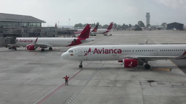 Footage of Avianca airplanes at El Dorado International Airport in Bogota Colombia on November 6 2017 Photographer Nicolo Filippo Rosso Shots wide...