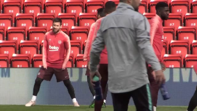 footage of barcelona training at anfield ahead of their champions league semi final second leg tie against liverpool includes manager ernesto... - lionel messi stock videos and b-roll footage
