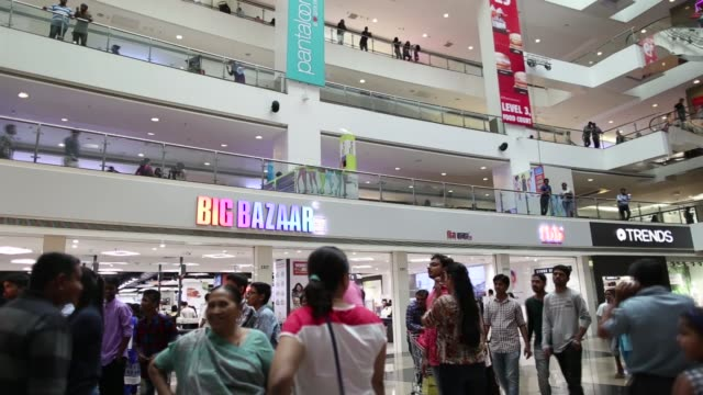 Footage of Big Bazaar and FBB signage in a mall in Mumbai India on April 17 2017 Shots wide shot in mall of Big Bazaar signage / wider shot of same...