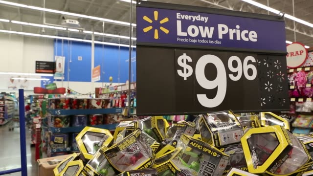 footage of black friday displays and items at a walmart stores inc location in burbank california us on tuesday nov 22 shots over the shoulder shot... - black friday stock videos & royalty-free footage