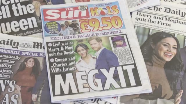 footage of british newspapers front pages after prince harry and his wife meghan announced their decision to step back from being senior royals - newspaper stock videos & royalty-free footage