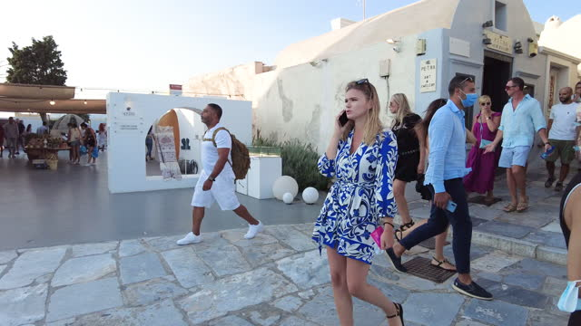 footage of busy street in oia village, santorini, greece - cyclades islands stock videos & royalty-free footage