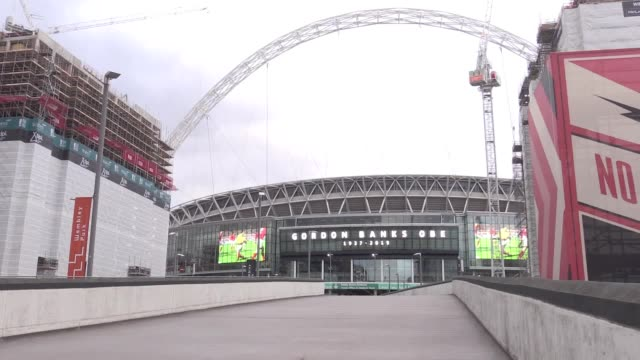 footage of commemorations at wembley stadium after former england goalkeeper gordon banks dies aged 81. - wembley stadium stock videos & royalty-free footage
