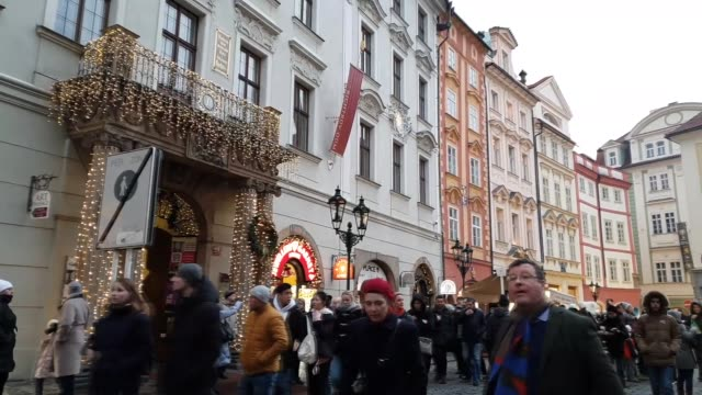 footage of crowded christmas market in prague, czech republic - stare mesto stock videos & royalty-free footage