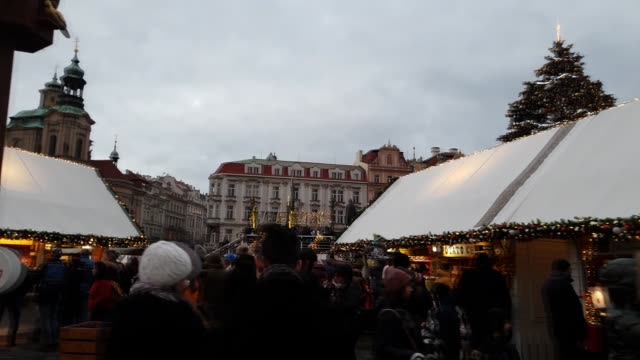 footage of crowded christmas market in prague, czech republic - traditionally czech stock videos & royalty-free footage