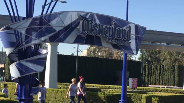 vidéos et rushes de footage of crowds at the entrance to disney's california adventure amusement park - anaheim californie