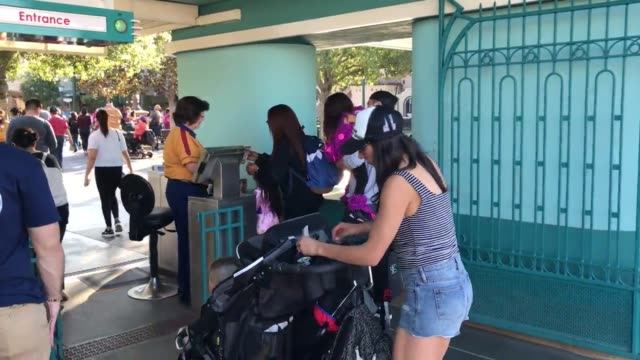 Footage of crowds at the entrance to Disney's California Adventure Amusement Park