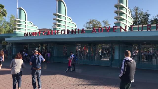 footage of crowds at the entrance to disney's california adventure amusement park - anaheim california stock videos & royalty-free footage