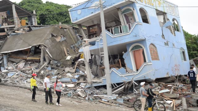 footage of debris and the cleanup effort after an earthquake in jama ecuador on april 22 2016 shots officials stand near a dilapidated building as... - ruined stock videos & royalty-free footage