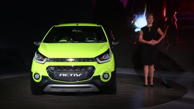 Footage of different vehicles on display at the Auto Expo 2016 in Greater Noida India on Wednesday February 3 2016 Shots shots of a screen as Maruti...